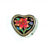 decorative pill box | metal pillbox | cloisonne small heart shaped pill box