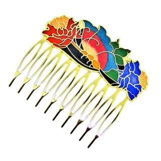 decorative enamel hair comb, Cloisonne hair comb