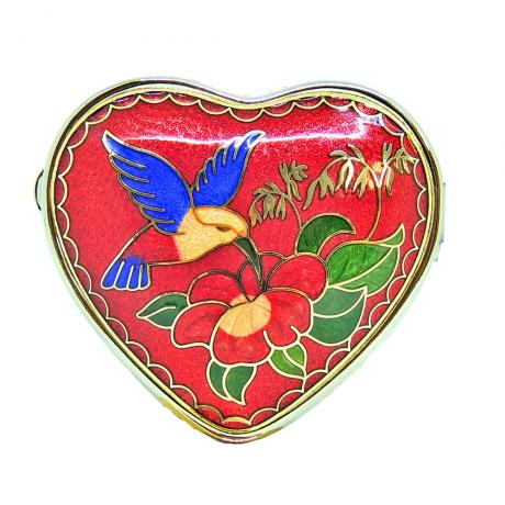 decorative pill box | metal pillbox | cloisonne heart shaped pill box