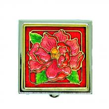 decorative pill box | metal pillbox | cloisonne square shaped pill box