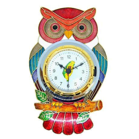 desk clock | alarm clock | cloisonne owl shaped desk clock