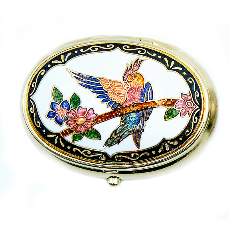 decorative pill box | metal pillbox | cloisonne oval shaped pill box